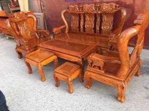 Bộ bàn ghế phòng khách trạm voi gỗ lim