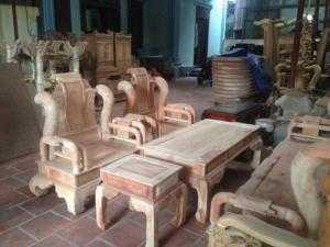 Bộ bàn ghế tần thủy hoàng gỗ xà cừ