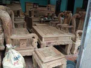 Bộ bàn ghế giả cổ đồng kỵ minh quốc đào tay 14 gỗ hương vân