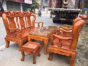 Bộ bàn ghế giả cổ minh quốc đào gỗ xà cừ tay 12
