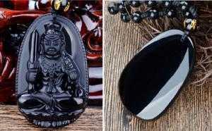 Vòng đá Obsidian Tuổi dậu- Phật hộ mệnh Bất động minh vương