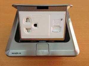 Ổ cắm âm sàn lắp ổ điện 3 chấu + ổ cắm sạc USB + ổ cắm HDMI, VGA, mạng, thoại