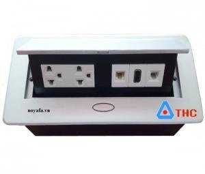 Bộ ổ cắm âm bàn sino amigo lắp ổ cắm điện đôi 3 chấu, HDMI, mạng, thoại, VGA, USB, Audio