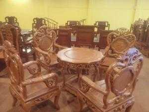 Bộ bàn ghế nho trúc 7 món gỗ gõ đỏ cao cấp