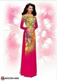 Vải áo dài hoa đẹp 3D AD GH2764