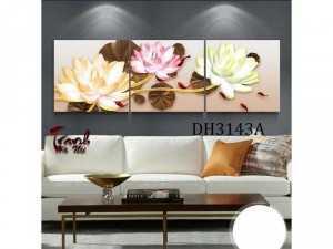 Tranh treo tường 3 bức hoa Sen 3D DH3143A
