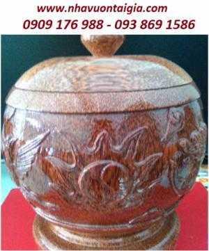 Vỏ bình trà làm từ gỗ dừa chạm Long - Lân - Qui - Phụng hoàn toàn thủ công.