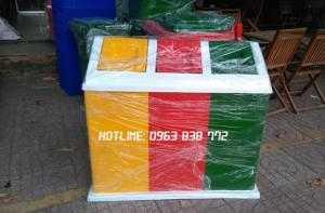 Thùng rác 3 ngăn composite | Thùng rác composite