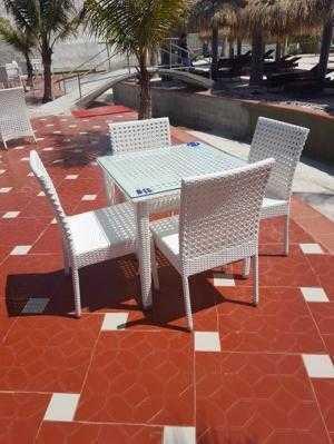 Bàn ghế cafe giả mây giá rẻ Htt10