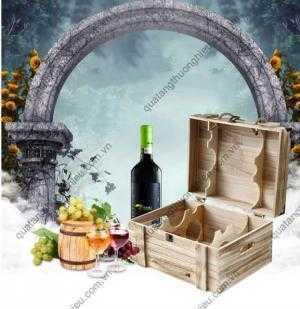 Hộp đựng rượu vang gỗ khắc logo theo yêu cầu