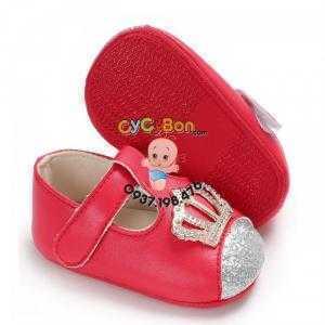 Giày Tập Đi Cho Bé Gái Màu Đỏ Vương Miện -đẹp chói chang