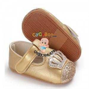 Giày Tập Đi Cho Bé Gái Màu Vàng Kim Đính Vương Miện -đẹp rạng ngời mà không chói lóa  !