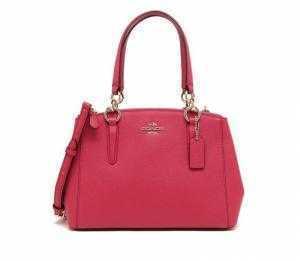 Túi xách Coach Mini Christie Carryall Bag in Crossgrain Leather Bright Pink F57523