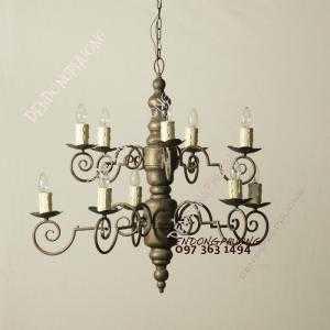 Đèn chùm cổ điển hai tầng phong cách Bắt Âu