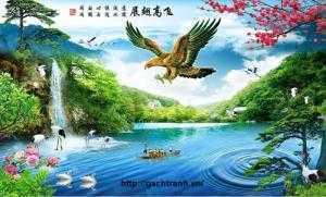 tranh phong cảnh phong thủy chim đại bàng tung cánh