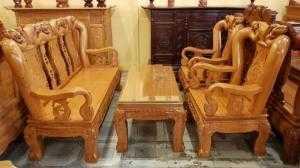 Bộ Bàn ghế Chạm Đào Đẹp tựa gương gõ đỏ tay 12, 6 món