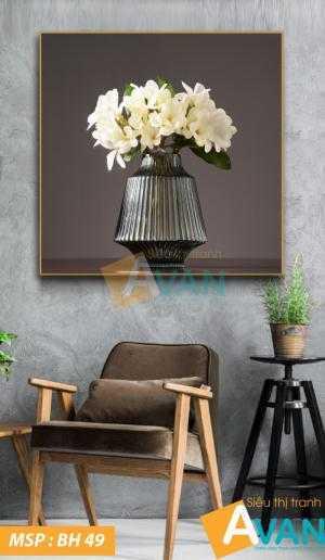 Tranh Bình hoa nghệ thuật treo phòng khách BH49