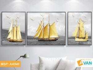 Bộ 3 tranh treo phòng khách Thuận Buồm Xuôi Gió AA540