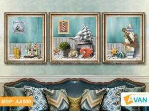 Bộ 3 tranh treo phòng khách Thuận Buồm Xuôi Gió AA500