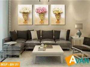 Bộ tranh Bình hoa nghệ thuật treo phòng khách BH01