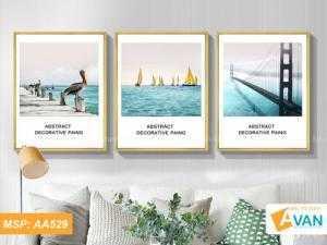 Bộ 3 tranh treo phòng khách Thuận Buồm Xuôi Gió AA529