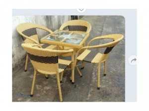 Bộ ghế cafe mây nhựa hh79