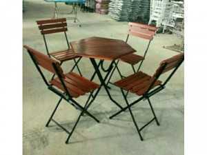 Bàn ghế cafê xếp gỗ