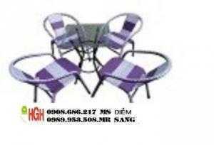 Bàn ghế cafe mây nhựa giá rẻ hh79