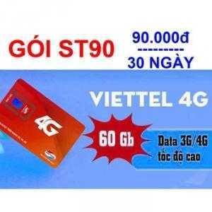 Đăng ký 4G gói cước ST90 Viettel nhận 60GB data chỉ với 90k/tháng