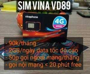 SIM 3G / 4G VD89 Vinaphone 60GB/Tháng + 43000 phút gọi
