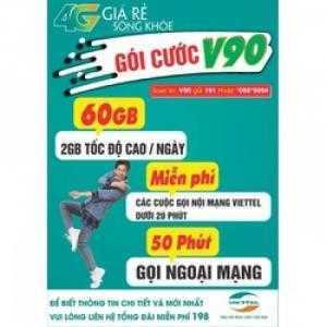 Viettel 4G  V90 ghe gọi thả ga lướt web 60gb/1 tháng