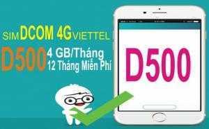 D500 Viettel chỉ 500.000đ có ngay 48GB/12 tháng