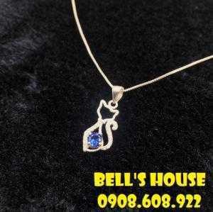 Dây chuyền đá Saphire xanh thiên nhiên đẹp, đá phong thủy saphire xanh Bells House TPHCM,