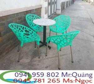 Bàn ghế cafe hoa văn nhựa đúc cho nhà hàng...
