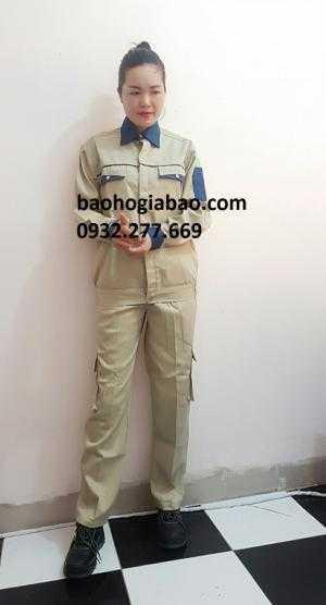 Đồng phục bảo hộ lao động màu ghi phối xanh túi hộp