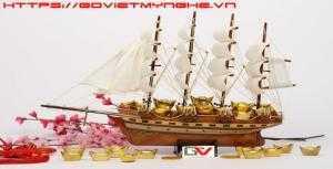 Mô hình thuyền gỗ trang trí phong thủy 40cm