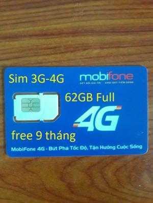 Sim 4G 62GB không giới hạn mobifone free 9...