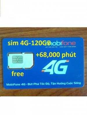 Sim 4G mobifone 120GB +68,000 phút gọi miễn...