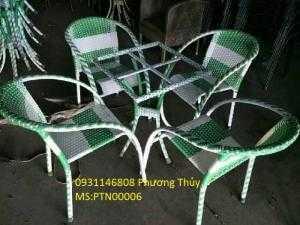 Bàn ghế cafe nhựa giả mây Phương Thủy PTN0001