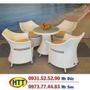 Bàn ghế nhựa giả mây giá rẻ HTT121 thanh lý