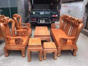 Bộ bàn ghế giả cổ trạm đào gỗ sồi nga