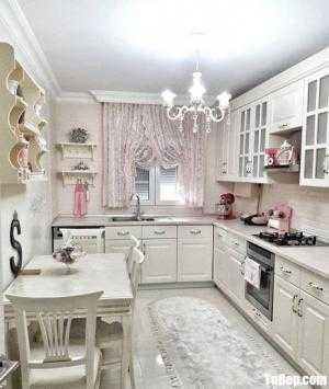 Tủ bếp chữ L chất liệu Sồi sơn men trắng sứ – TBN0153
