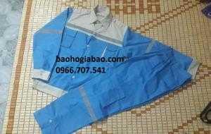 Quần áo BHLĐ màu xanh hòa bình phối ghi túi hộp có phản quang