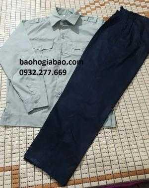 Quần áo BHLĐ kaki Nam Định màu ghi -tím than BA802