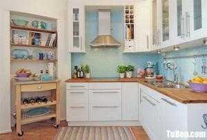 Tủ bếp chất liệu Tần bì sơn men trắng kết hợp bàn đảo – TBN0152