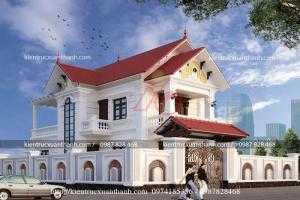 Mẫu biệt thự 2 tầng mái thái nông thôn đẹp của anh Tùng