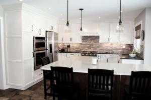Tủ bếp gỗ tự nhiên Sồi Mỹ sơn men trắng phong...