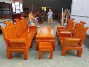 Bộ bàn ghế Âu Á hộp kiểu cuốn thư gỗ hương đá