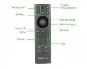 Remote Kiwi V6 điều khiển TV thông minh, đầu android.,,bằng giọng nói