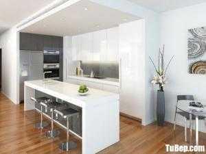 Tủ bếp chất liệu Acrylic dạng chữ L kết hợp bàn đảo – TBN0153